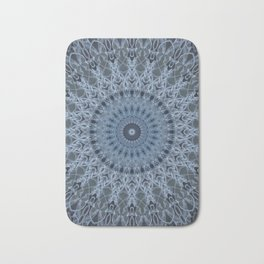 Gray and light blue mandala Bath Mat