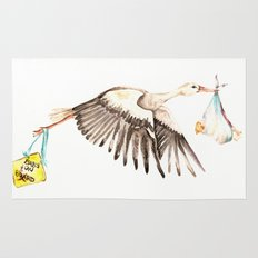 Baby on Bird Rug