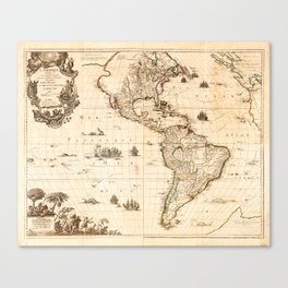North and South America Map (1740) Canvas Print