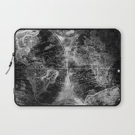 Antique Map Space Stars Black and White Laptop Sleeve