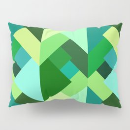 Modern Abstract Triangles, Emerald Green and Aqua Pillow Sham