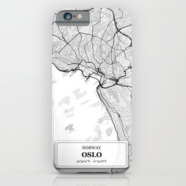 Oslo Norway City Map with GPS Coordinates iPhone Case