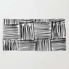 Modern Square Black on White Beach Towel