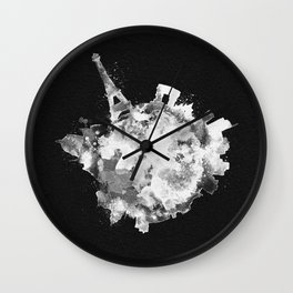 Paris, France Black and White Skyround / Skyline Watercolor Painting (Inverted Version) Wall Clock