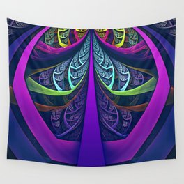 An UltraViolet Black Light Rainbow of Glass Shards Wall Tapestry