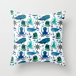 Watercolor Ocean Nautical Octopus Whale Pattern Throw Pillow