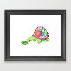 Mom and Baby Turtle Framed Art Print
