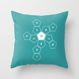 Teal Unrolled D12 Throw Pillow
