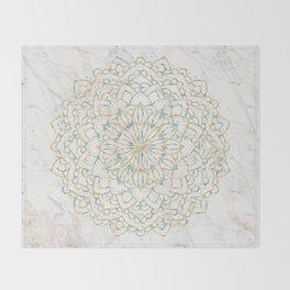 Marble Mandala Sea Shimmer Gold + Turquoise Throw Blanket