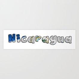 Nicaragua Font with Nicaraguan Flag Art Print