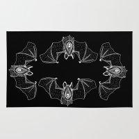 vagina Area & Throw Rugs featuring Batgina on black by oozingsalt
