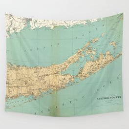 Vintage Map of Suffolk County NY (1895) Wall Tapestry