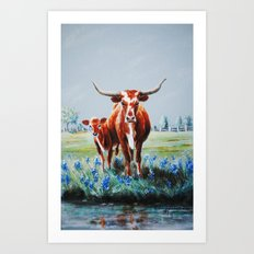 Longhorns and Bluebonnets Art Print