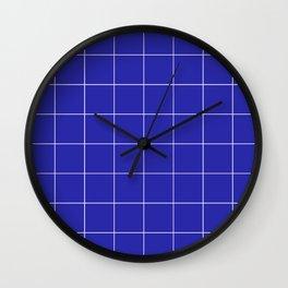 Graph Paper (White & Navy Blue Pattern) Wall Clock