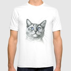 Cross Eyed cat G122 White 2X-LARGE Mens Fitted Tee
