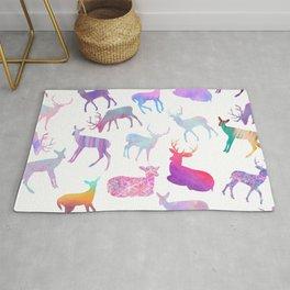 Modern abstract pink teal violet watercolor deers Rug