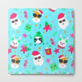 Christmas Pattern - Santa Claus with cute animals Metal Print