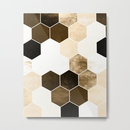 Honeycombs print, sepia colors hexagons with stone effect Metal Print