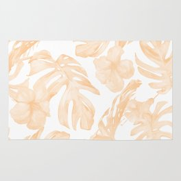 Island Vacation Hibiscus Palm Leaf Coral Apricot Orange Rug