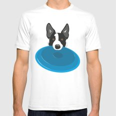 Border Collie - Disc Dog 2 White MEDIUM Mens Fitted Tee