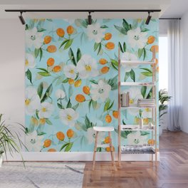 mediterranean summer kumquat and orchid branches on turquoise Wall Mural