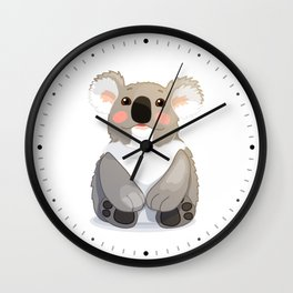Lovely koala bear sitting and looking up. Wall Clock