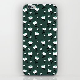 Paper cut cotton boll flowers fall bloom green teal iPhone Skin