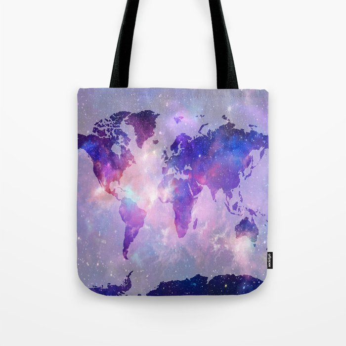 world map galaxy Tote Bag