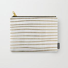 White minimalist faux gold elegant modern stripes Carry-All Pouch