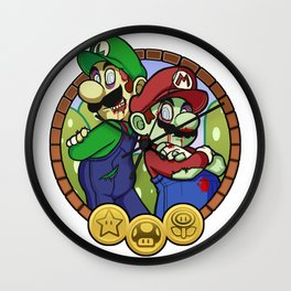 Zombies Mario & Luigi Wall Clock