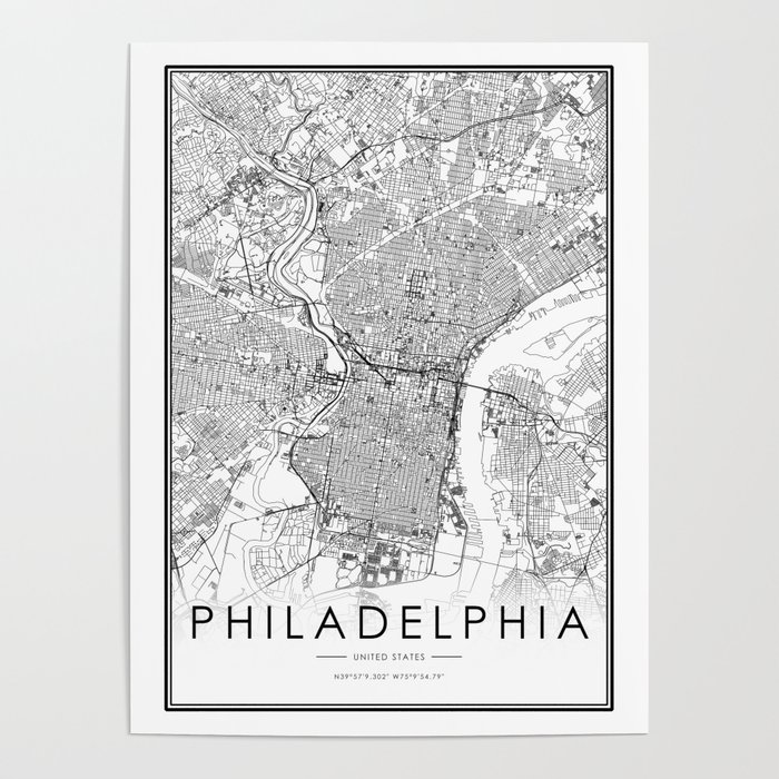 Philadelphia City Map United States White and Black Poster by victorialyu
