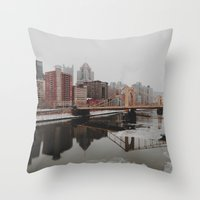 pittsburgh Throw Pillows featuring Pittsburgh, PA by Chase Hunter