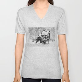 The Charging Bull, In the snow. Unisex V-Neck