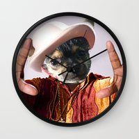 biggie smalls Wall Clocks featuring Dogs with Hands- Biggie by Iris Chadab