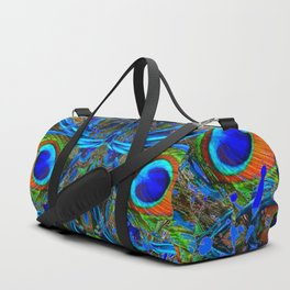 ARTY FEATHERY BLUE PEACOCK ABSTRACTED  FEATHERS ART Duffle Bag