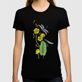 yellow water lilies and dragonflies T-shirt