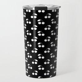 White Cherries On Black Travel Mug