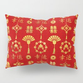 Gold on Red  Lucky Chinese Symbols  Pattern Pillow Sham