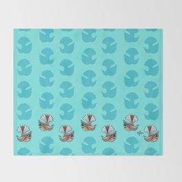 Fantail - Aqua Throw Blanket