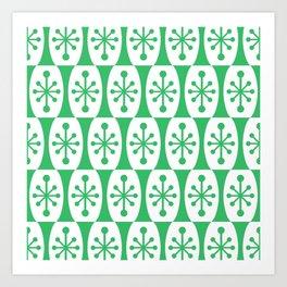 Mid Century Modern Atomic Fusion Pattern Green Art Print