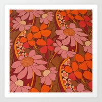 50s Art Prints featuring Crazy pinks 50s Flower  by Follow The White Rabbit