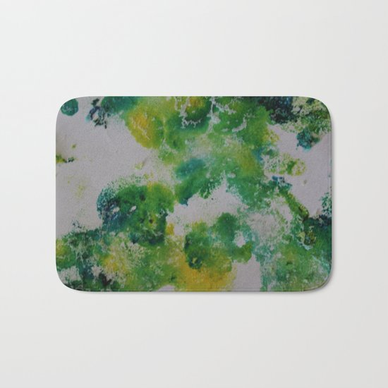 Its about space - in greens and yellows Bath Mat