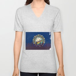 New Hampshire State Flag with Audience Unisex V-Neck