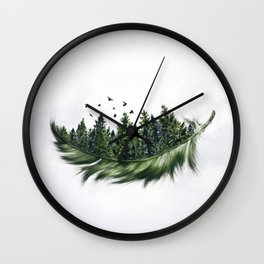Earth Feather • Green Feather (horizontal) Wall Clock