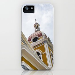 Looking up at the Exterior of the Yellow Granada Cathedral in Downtown Granada, Nicaragua iPhone Case