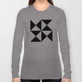 Geometric Pattern #45 (black white triangles) Long Sleeve T-shirt