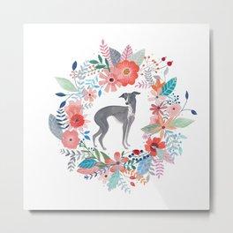 Italian Greyhound And Flowers Metal Print