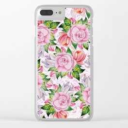 Watercolor pink lavender colorful hand painted roses flowers Clear iPhone Case