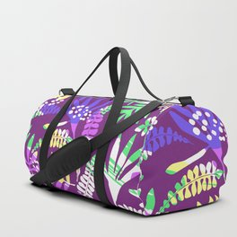 Abstract pink lavender green tropical floral pattern Duffle Bag