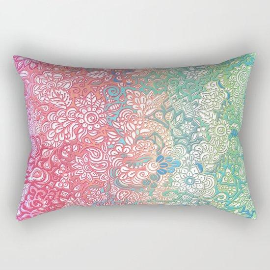 Soft Pastel Rainbow Doodle Rectangular Pillow